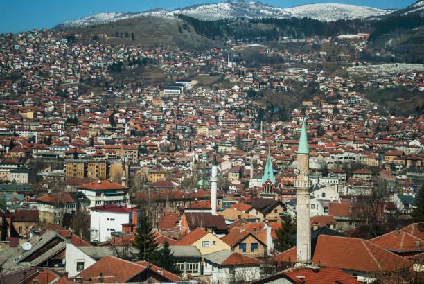 panoramic view of the city - antigua yugoslavia fotografías e imágenes de stock