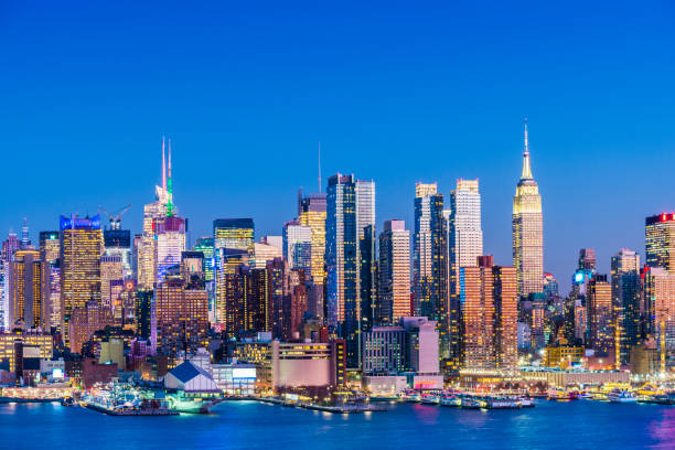 Panoramic View of the City Skyline of Midtown Manhattan at Twilight, New York City, USA stock photo