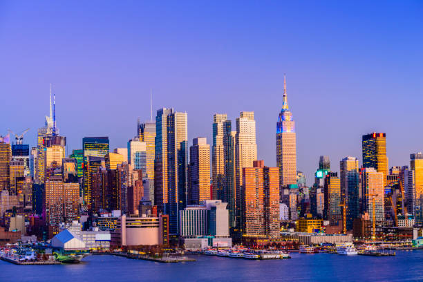 Panoramic View of the City Skyline of Midtown Manhattan, New York City, USA stock photo