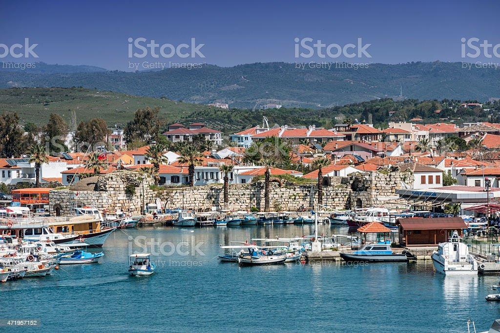 Panoramic view of the coast of Sigacik, Izmir and mountains stock photo