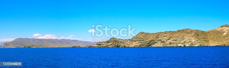 panoramic view of the coasts of the islands of Tinos and Andros, in the Cyclades archipelago, in the heart of the Aegean Sea