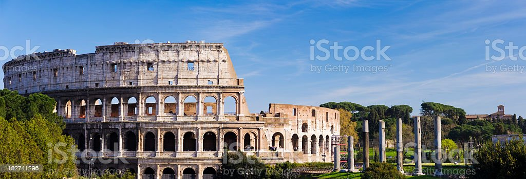 Panoramic View of the Colosseum in Rome Italy stock photo