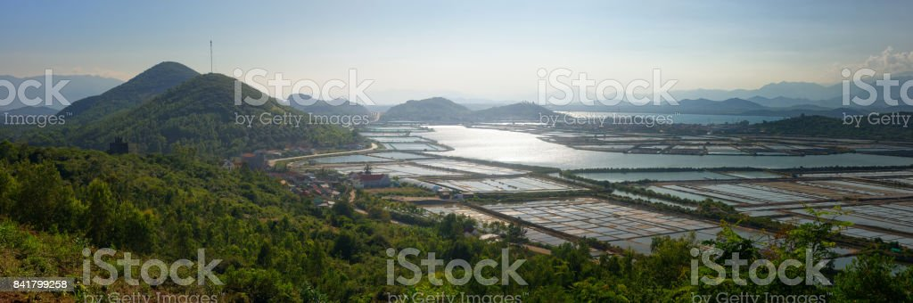 Panoramic view of the countryside in central Vietnam. stock photo