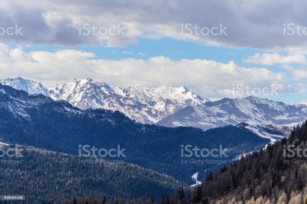 Panoramic view of the Dolomites Alps Mountains near Trento in Italy royalty-free stock photo