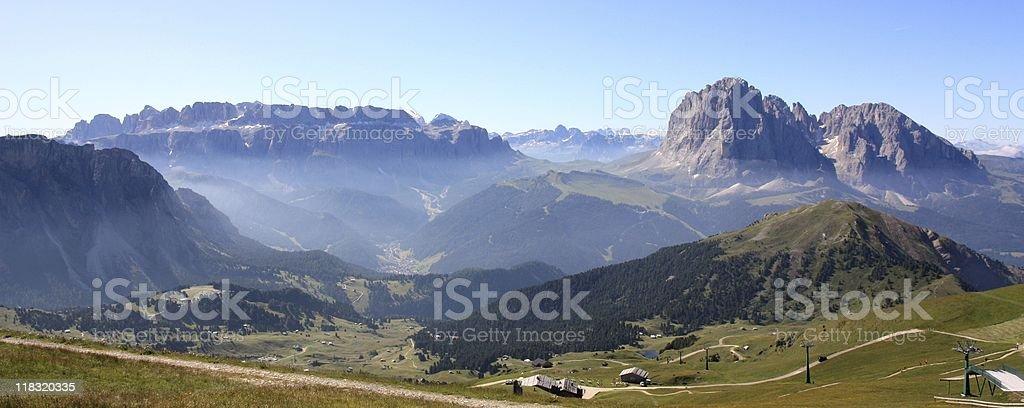 Panoramic view of the Dolomites stock photo