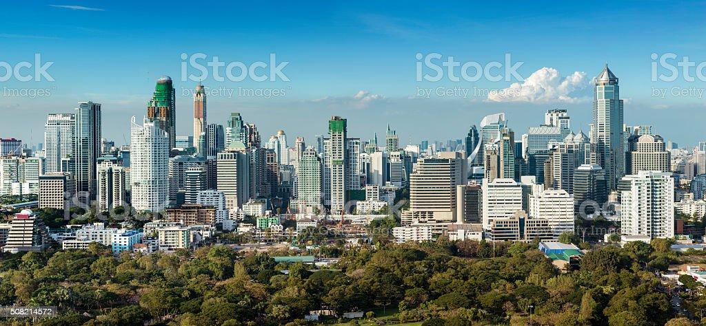 Panoramic View of the Downtown Bangkok City Skyline Thailand圖像檔