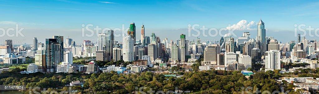 Panoramic View of the Downtown Bangkok City Skyline Thailand stock photo