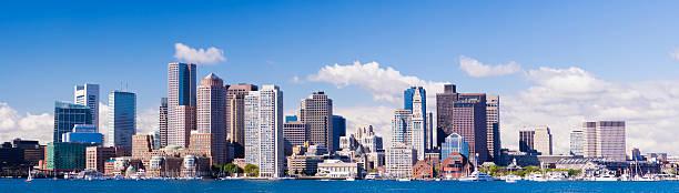 Panoramic View of the Downtown Boston City Skyline USA stock photo
