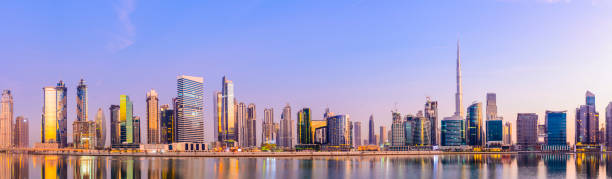 Panoramic View of the Downtown Dubai City Skyline and Business Park at Sunset, United Arab Emirates. stock photo