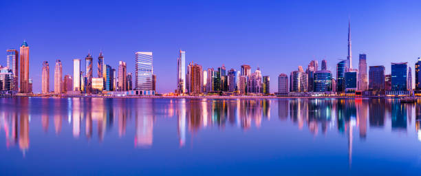 Panoramic View of the Downtown Dubai City Skyline and Business Park at Sunset, United Arab Emirates stock photo