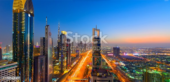 Illuminated Futuristic Modern Skyline, Clear Sky Copy Space
