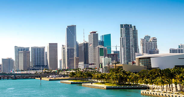 Panoramic view of the downtown Miami skyline, Florida, USA. stock photo