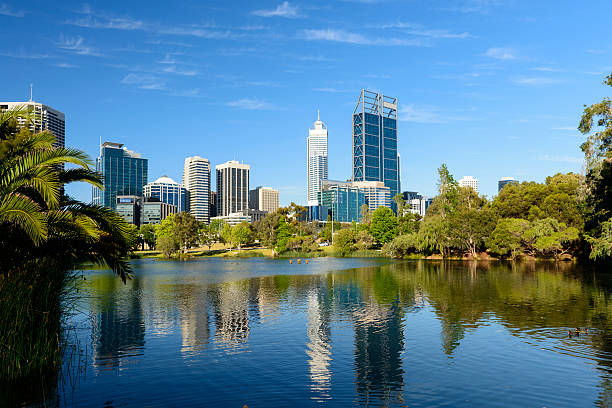 Panoramic View of the Downtown Perth City Skyline in Australia stock photo