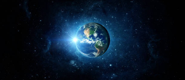 Panoramic view of the Earth, sun, star and galaxy. Sunrise over planet Earth, view from space. Panoramic view of the Earth, sun, star and galaxy. Sunrise over planet Earth, view from space. Elements of this image furnished by NASA planet space stock pictures, royalty-free photos & images