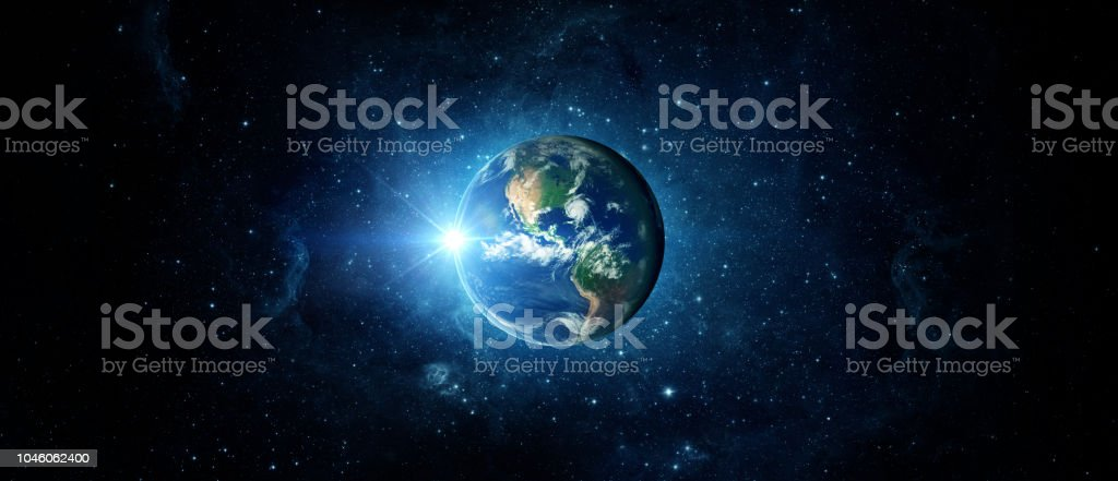 Panoramic view of the Earth, sun, star and galaxy. Sunrise over planet Earth, view from space. stock photo