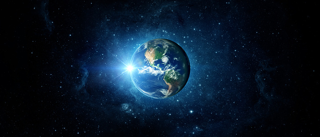 Panoramic View Of The Earth Sun Star And Galaxy Sunrise Over Planet Earth View From Space Stock Photo - Download Image Now