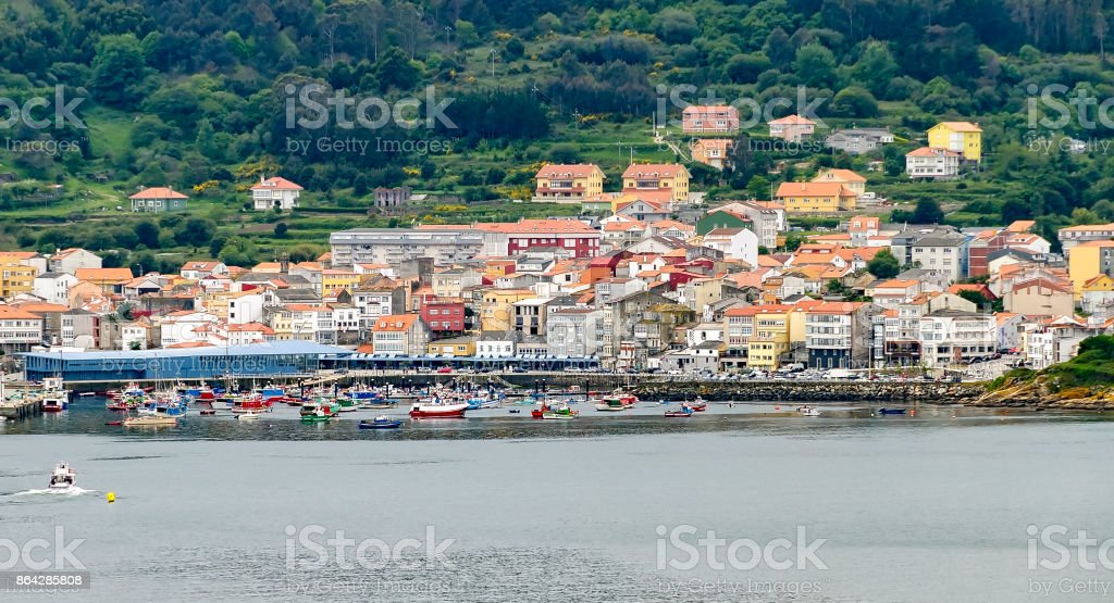 Panoramic view of the fishing town of Finisterre in Galicia, Spain royalty-free stock photo