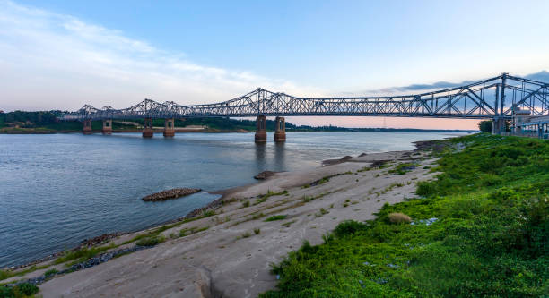 Panoramic view of the four-lane Natchez–Vidalia Bridge (two twin cantilever bridges), crossing the Mississippi River. It carries US 84 into Natchez, seen here just before dusk at Natchez, MS