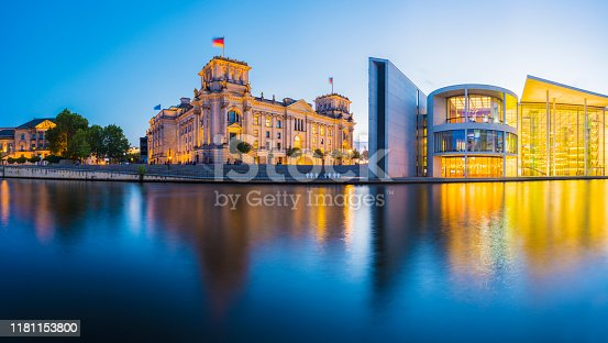 istock Panoramic View of The German Parliament Building and the River Spree at Twilight, Germany. 1181153800