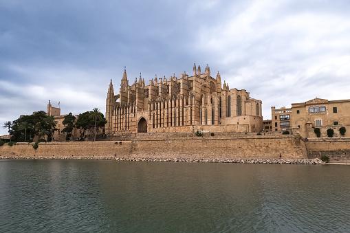 Panoramic view of the gothic Cathedral La Seu at Palma de Mallorca