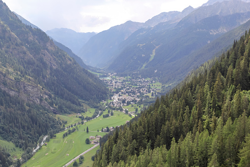 Panoramic view of the Gressoney valley near Monte Rosa