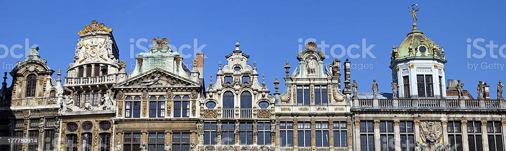 Panoramic view of the Guildhals in Grand Place, Brussels stock photo