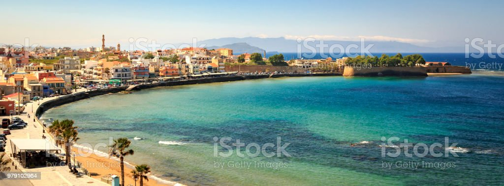 Panoramic view of the harbour in Chania, Crete stock photo