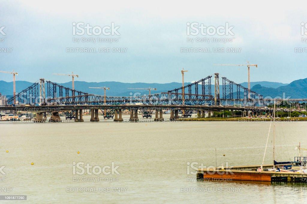 Panoramic view of the Hercilio Luz Bridge, in Florianopolis, Brazil.