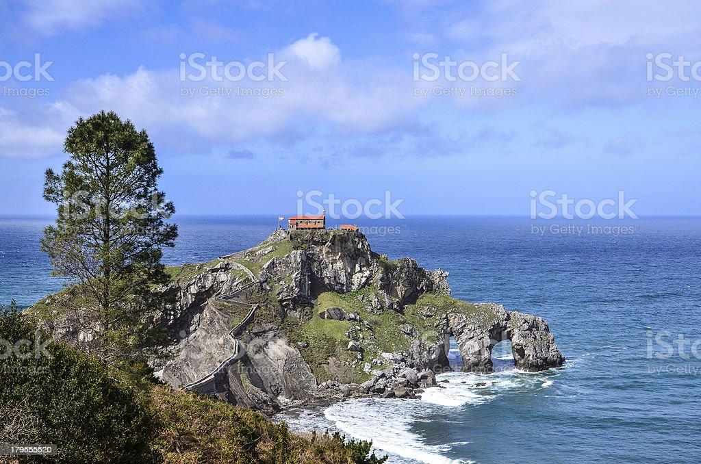 Panoramic view of the hermitage at San Juan de Gaztelugatxe royalty-free stock photo
