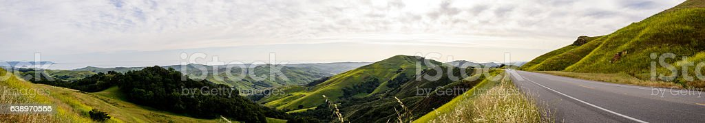 Panoramic view of the hills in Western California stock photo