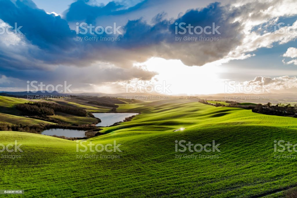Panoramic view of the hills near Siena in winter stock photo