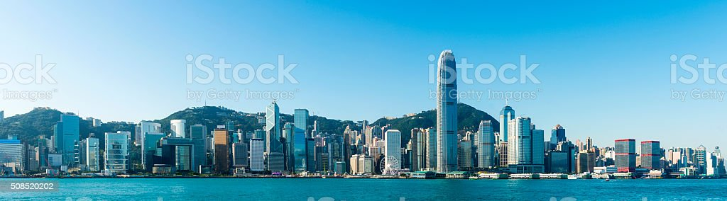 Panoramic view of the Hong Kong City Skyline, China. stock photo