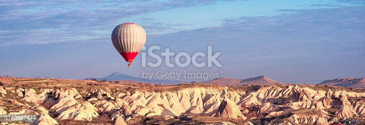515376634 istock photo Panoramic view of the Hot Air balloon flying tour over Mountains landscape spring Cappadocia, Goreme Open Air Museum National Park, Turkey nature background. 1143867474