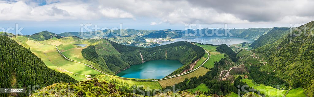 Panoramic view of the lakes of Sete Cidades, Azores, Portugal stock photo