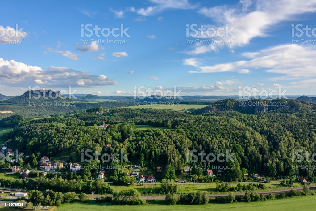 Panoramic view of the landscape in Germany, Saxony stock photo