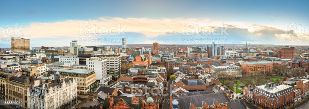 Panoramic view of  the Leeds skyline stock photo