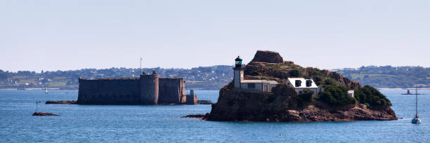 Panoramic view of the Louët Island and the Château du Taureau in the bay of Morlaix stock photo