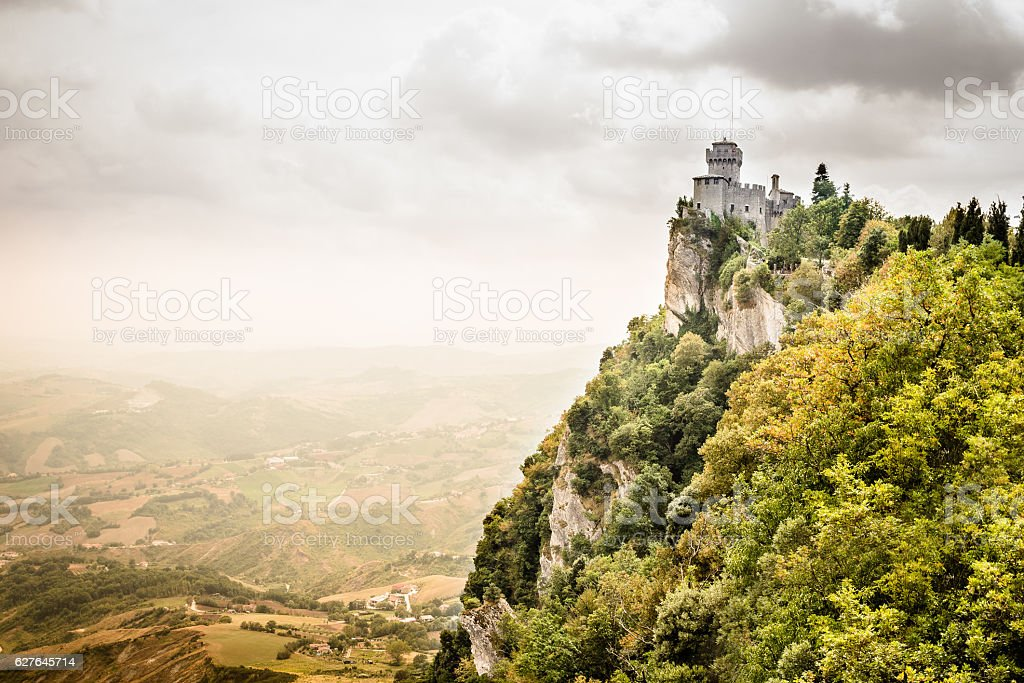 Panoramic view of the medieval fortress in San Marino stock photo