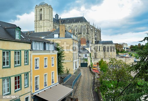 Panoramic view of the medieval town Le mans and the cathedral Saint Julien, France