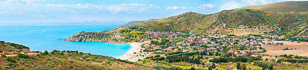 Panoramic view of the Mediterranean coast of Sardinia stock photo