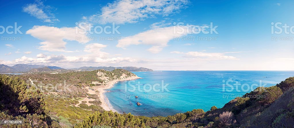 Panoramic view of the Mediterranean coast with crystal clear sea stock photo