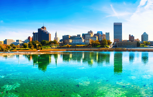 Panoramic view of the Memphis skyline over turquoise waters