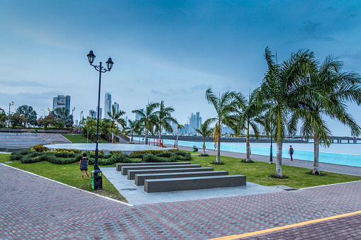 Panoramic view of the modern park and promenade of Panama City with its high rise buildings, right next to Casco Viejo by the Pacific Ocean.