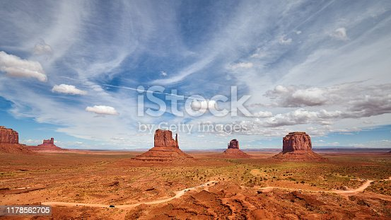 Panoramic view of the Monument Valley rock formations, Utah, USA.