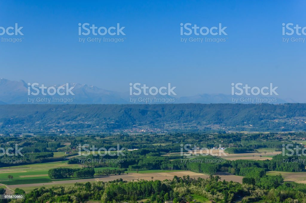 panoramic view of the morainic greenhouse (italy) stock photo