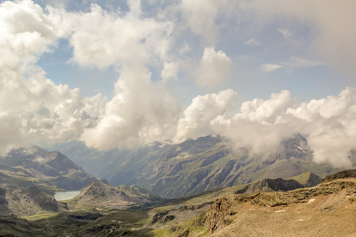 Panoramic view of the mountain range and valleys of Monte Rosa