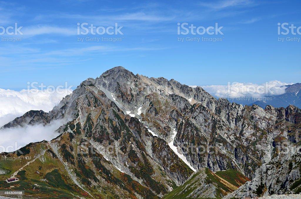 Panoramic view of the mountain Tsurugi, Japan Northern Alps stock photo