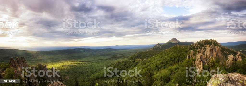 Panoramic view of the mountains and cliffs, South Ural. Summer in the mountains. royalty-free stock photo