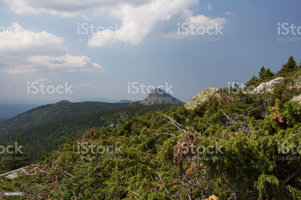 Panoramic view of the mountains and cliffs, South Ural. Summer in the mountains.View from the mountains. royalty-free stock photo
