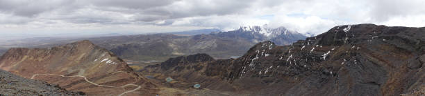 Panoramic view of the mountains of the La Paz region, Bolivia stock photo